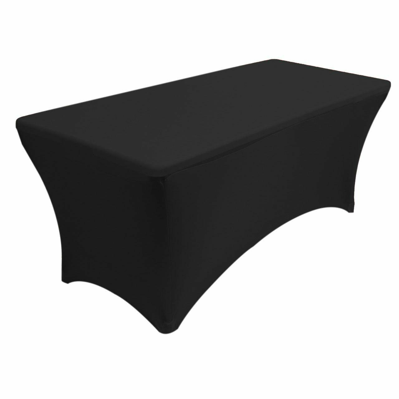 Black Rectangular Fitted Stretch Table Cover Outdoor Party T