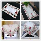 White Embroidered Tablecloth Rose Table Cloth Cover Topper W