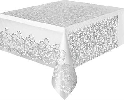"""Unique 54"""" X 108"""" White Lace Disposable Plastic Tablecover R"""