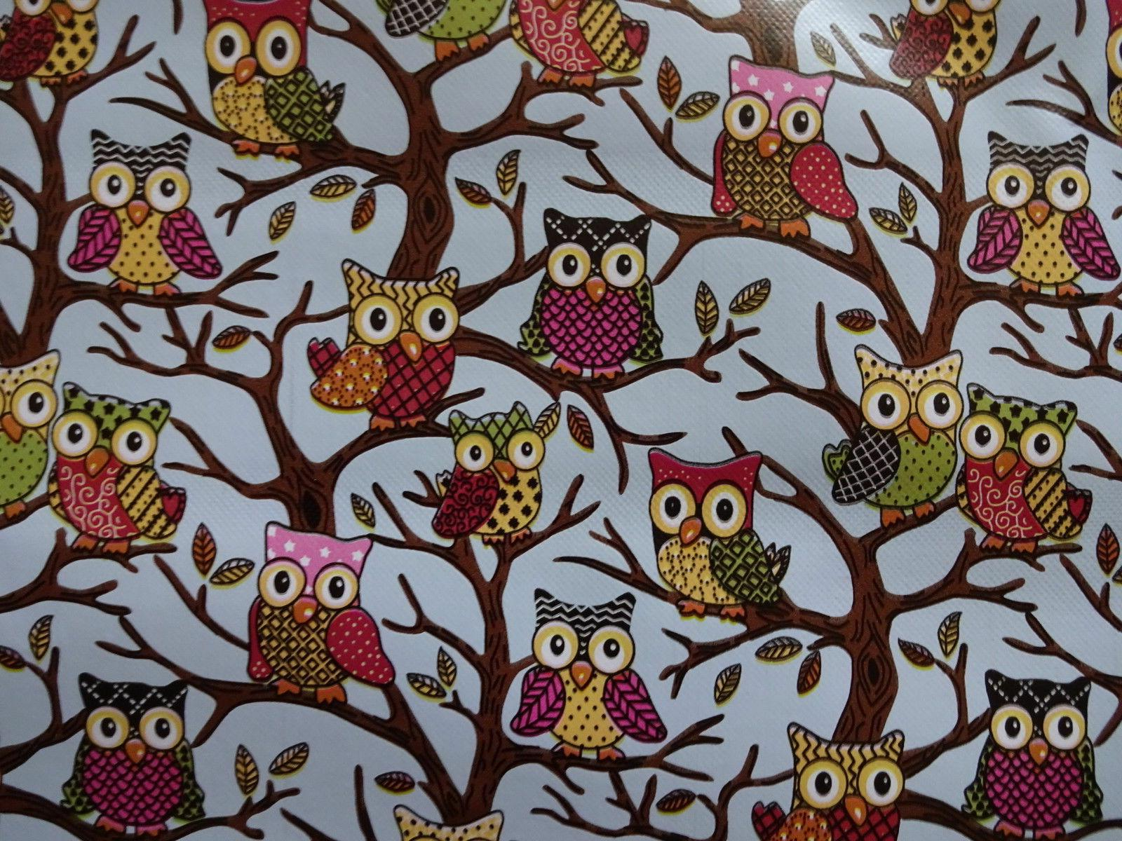 white polka dots pink blue brown owls
