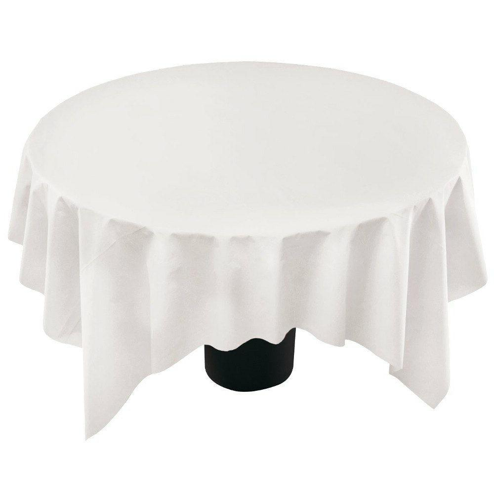"""82"""" WHITE ROUND 3 PLY PAPER TISSUE/POLY LINED TABLE COVER OC"""