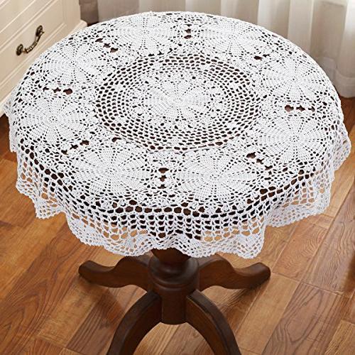 white round handmade crochet lace