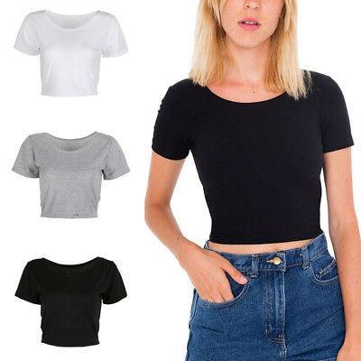 Women Summer Plain Scoop Neck Basic Short Sleeve Ladies Slim