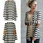 Womens Striped Waterfall Cardigan Sweater Long Sleeve Casual
