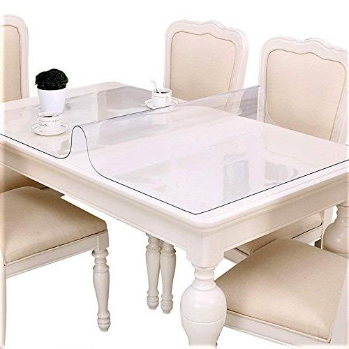 """Large Clear Plastic Vinyl Rectangle Wipeable Table Protector Thick Hardwood Protective Desk Dining Office High 36"""""""