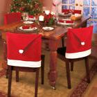 Xmas Santa Clause Red Hat Chair Back Cover Christmas Dinner