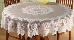lace tablecloth 60 round white in hand