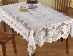 lace tablecloth rectangle white in hand floral