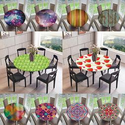 Large Elastic Round Polyester Fabric Tablecloth Table Cover