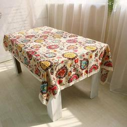 Large Rectangle 75% Cotton Sunflower Tablecloth For Wedding