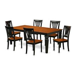 East West Furniture LGPL7-BCH-W 7 PC Kitchen Table Set with