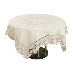 uxcell Light Beige Rose Flower Embroidered Table Cover Table