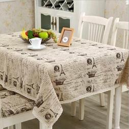 Linen Fabric Rectangular Shape Table Cover Crown Letter Prin