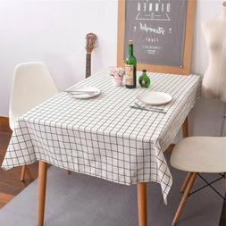 Linen Table Cover Cloth Rectangle Plaid  Kitchen Dining Tabl