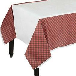 Amscan Little Lumberjack Buffalo Plaid Paper Table Cover, 2