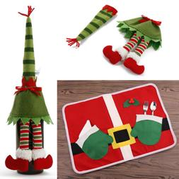 LOT Merry Christmas Placemats Table Mats Wine Bottle Cover X