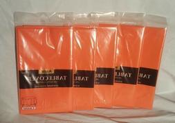 "LOT of 5 Amscan Orange Plastic Table Cover 84"" Round Birthda"