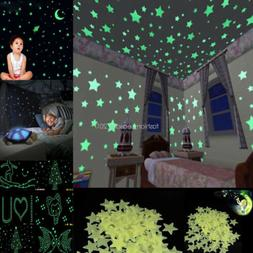 Lots 1000pcs 3D Stars Moon Stickers Glow In The Dark Bedroom