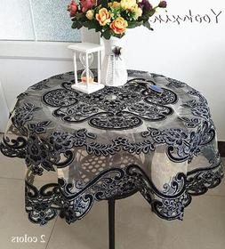 Luxury glitter Black square Tablecloth embroidery lace <font
