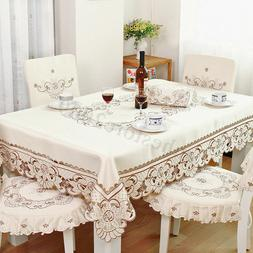 Luxury Lace Embroidery Tablecloth Table Cover Oval Square Re