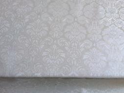 LUXURY OFF WHITE PLAIN DAMASK FLORAL PVC OIL VINYL TABLE CLO