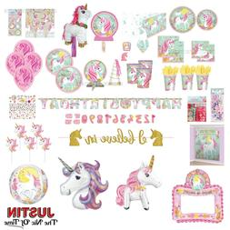 Magical UNICORN Girls Birthday Party Tableware Plates Cups N