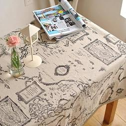 LINENLUX Map Printed Lace Table Cloth for Round&Rectangular&