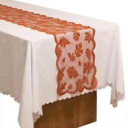 Maple Maple Leaves Embroidered <font><b>Table</b></font> Run