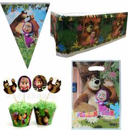 MASHA AND THE BEAR PARTY SUPPLIES BANNER PARTY GIFT BAGS CUP