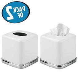mDesign Square Facial Tissue Box Cover Holder for Bathroom V