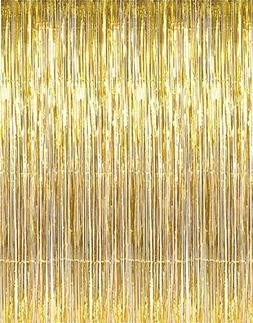 Adorox Metallic Silver Gold Rainbow Foil Fringe Curtains Par
