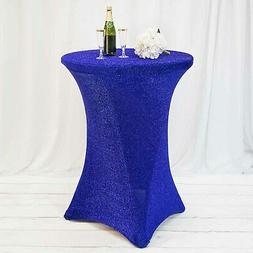 Metallic Royal Blue COCKTAIL SPANDEX TABLE COVER Fitted Wedd