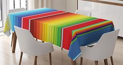Abstract Tablecloth by Ambesonne, Horizontal and Colored Eth