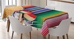 Mexican Decorations Tablecloth by Ambesonne, Mexican Artwork