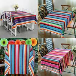 Mexican Serape Blanket Table Cloth Cotton Beach Yoga Blanket