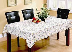 Eforgift Modern Colorful Flowers on White PVC Vinyl Table Co