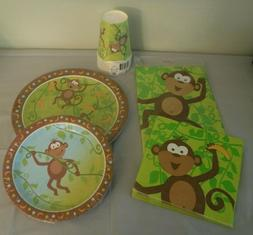 Monkey Birthday Plates Napkins Table Cover Cups Party Decora