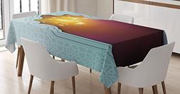 Ambesonne Moroccan Tablecloth, Door with Star and Moon Artis