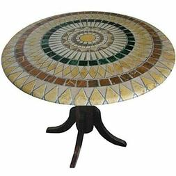 """Mosaic Table Cloth Round 36"""" to 48"""" Elastic Edge Fitted Viny"""