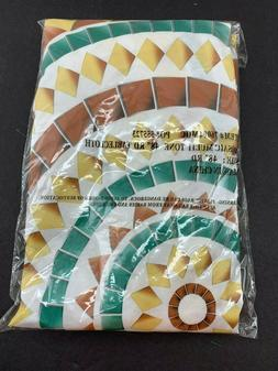 "Mosaic Table Cloth Round 48"" Elastic Edge Fitted Vinyl Table"