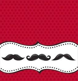 Mustache Madness 54 x 108 Plastic Tablecover Border Print 6
