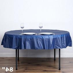 """Navy Blue ROUND 84"""" Disposable Plastic Tablecloth Table Cove"""