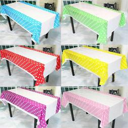 New 108*180CM Polka Dots Party Plastic Table Cover for Kids