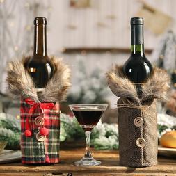 New Christmas Ornament Mini Lattice Coat Wine Bottle <font><