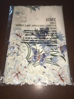 NEW FLORAL BUTTERFLY TABLE COVER SQUARE EMBROIDERED TABLECLO