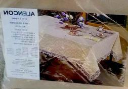 NEW ALENCON LACE Tablecloth TOPPER Table Cover #9000 52 X 70