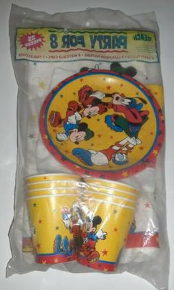 NEW Vtg 80s Disney Beach Mickey Mouse Birthday Party For 8 T