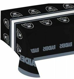 """NFL Oakland Raiders Plastic Table Cover 54"""" x 102"""" NEW by Cr"""