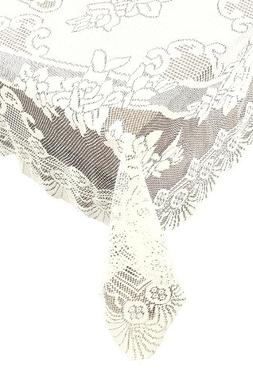 Ritz 100% Polyester Easy Care Linen Lace Tablecloth, Oblong