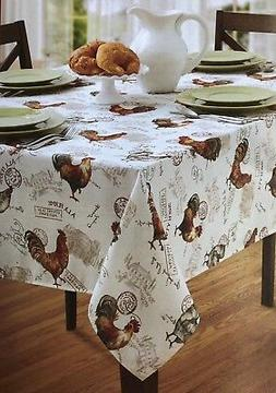 "Benson Mills 60""x 84"" Oblong TEXTURED Poly ROOSTER Tableclot"